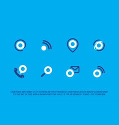 modern professional advertising icons set in blue vector image