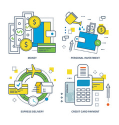 Money personal investment express delivery vector