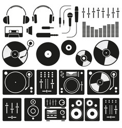 Music equipment icon set on white background vector