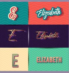 Name elizabeth in various retro graphic design vector