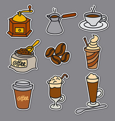 offee drinks stickers vector image