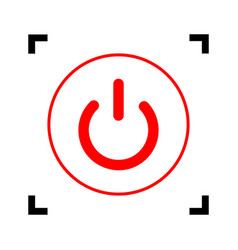 on off switch sign red icon inside black vector image