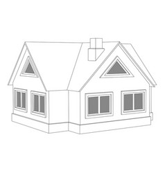 Private cottage outline drawing vector