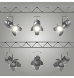 Realistic Spotlights Set vector image