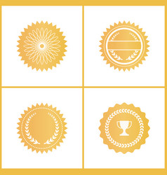 Round gold certificate emblems for documents set vector