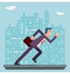 Running Businessman Character Urban Landscape City vector