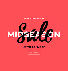sale banner template midseason sale pink vector image