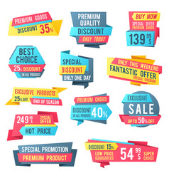 Sale banners and price tag labels selling card vector