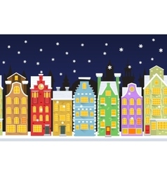 Seamless background with winter town vector image