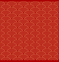 seamless red wave dragon fish scales pattern vector image