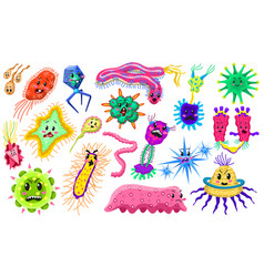 Set bacteria characters cartoon cute germ vector