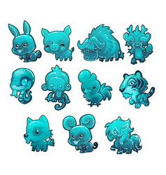 set cartoon ice figurines of animals turquoise vector image