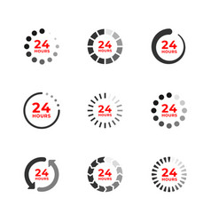 Set color icons 24 hours vector