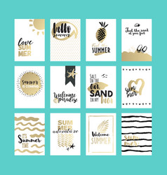 set hand drawn summer cards and banners vector image