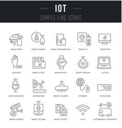 Set line icons iot vector