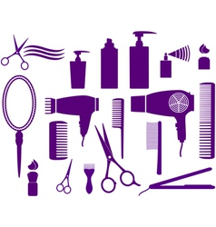 set of hairstyling objects vector image