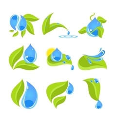 Set of icons for water and nature vector image