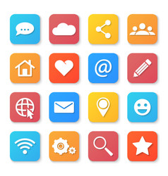 set of social networking icons flat design style vector image