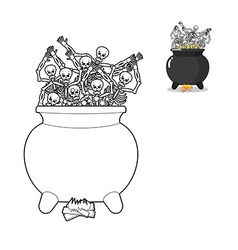 Sinners in cauldron in hell coloring book vector
