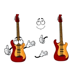 Smiling cartoon guitar character with arms vector image