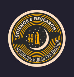 Space mission vintage isolated label vector