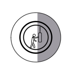 Sticker of monochrome pictogram with man knocking vector