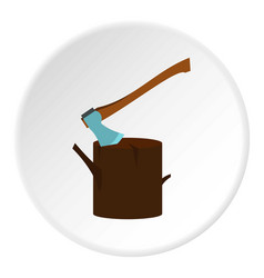 Stump with axe icon circle vector