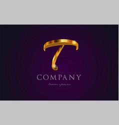 T gold golden alphabet letter logo icon design vector