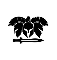 Three spartan helmet and sword icon vector
