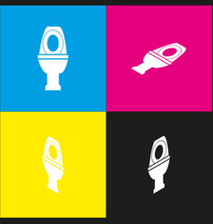 Toilet sign white icon with vector
