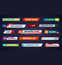 Tv news bar television broadcast media title vector