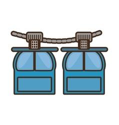 Two rope way cabine gondola vacation travel vector