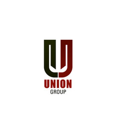 u letter icon for union group vector image
