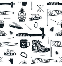 vintage hand drawn seamless pattern with camping vector image