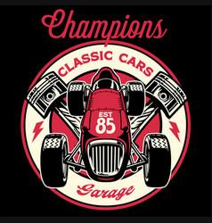 vintage shirt design retro old racing formula vector image
