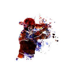 Watercolor silhouette baseball player vector