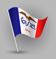 waving triangle american state flag iowa vector image