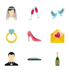 Wedding icons set flat style vector