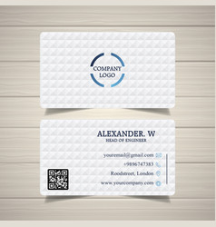 White color abstract business card template vector