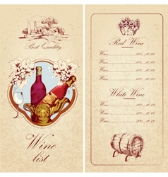Wine list template vector image