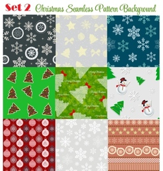 Winter Christmas New Year Seamless Pattern Set vector image