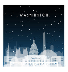 winter night in washington night city in flat vector image