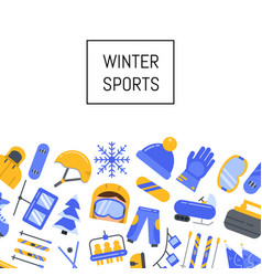 Winter sports equipment and attributes vector