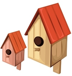 Wooden birdhouse on a white background vector