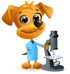 Yellow dog teacher holding microscope biology vector