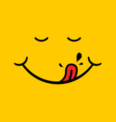 Yummy smile with red tongue saliva on yellow vector
