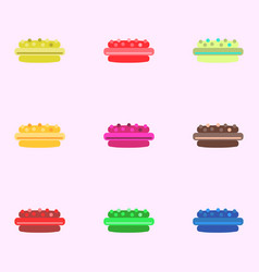 Cake set icons vector