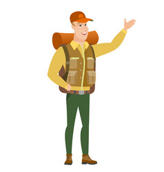 caucasian traveler showing a direction vector image vector image