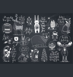 cute forest animals set - chalkboard style cute vector image
