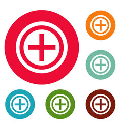 plus icons circle set vector image